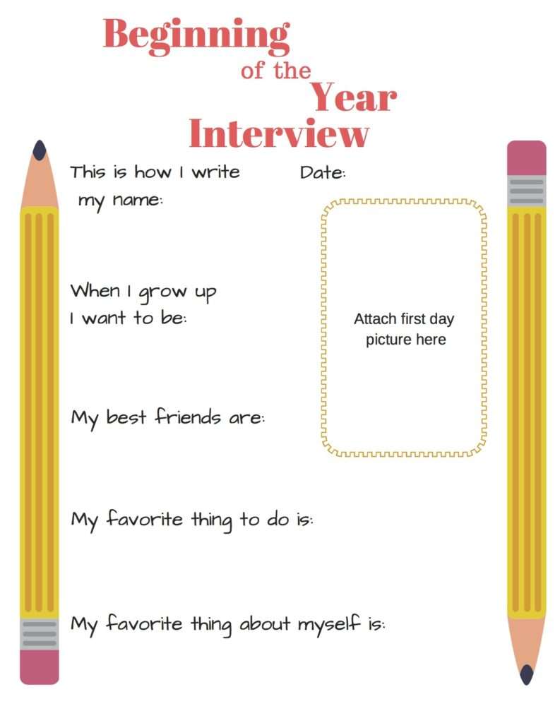 image about First Day of School Interview Printable titled The \